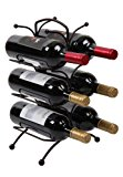 Finnhomy 6 Bottle Wine Rack with Handle Bar, Wine Bottle Holder Free Standing Wine Storage Rack Iron, Brozen