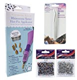 Rhinestone Hot-Fix Applicator Wand Kit: Setter Heat Bedazzler Tool with Tweezers, 750 Glass and Muticolor Stones.