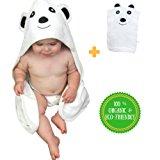 Ultra Soft Premium Organic Bamboo Hooded Baby Towel With Bonus Wash Mitt
