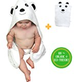 Ultra Soft Premium Organic Bamboo Hooded Baby Towel With Bonus Wash Mitt