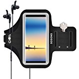 Galaxy Note 8 Armband/S8 Plus Armband,SOSONS Water Resistant Sports Gym Armband Case for Samsung Galaxy Note 8/S8 Plus,with Card Pockets and Key Slot,Fits Smartphones with Slim Case