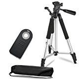 "57"" Inch Lightweight Aluminum Camera Tripod + Remote Shutter Release for Nikon (4 Piece Set)"