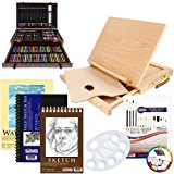 US Art Supply 142 Piece Mega Art Creativity Set in Wood Box Set, Wood Desk Easel and BONUS 20 additional pieces