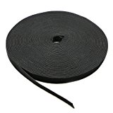 Saisn Reusable Fastening Tape Cable Ties 3/4-Inch Double Side Hook Loop Strap Roll (25 Yard, Black)