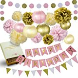 31 Pcs of Pink Gold and Cream Birthday Party Decoration Set PomPom Lanterns Polka Dot Triangle Garland Banner First 1st Birthday Girl Princess Ballerina Theme Decorations Kit Party Supplies Backdrop