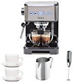 Capresso 12401 Ultima PRO Programmable Espresso & Cappuccino Machine + (2) Ceramic 3 oz. Espresso/Cappuccino Cup & Saucers + Stainless Steel Frothing Pitcher + Knox Handheld Milk Frother