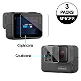 Awinner Glass for GoPro Hero5/Hero6 ,Screen Protector(Screen and Lens) Ultra-Clear Tempered-Glass for Hero 5 Action Camera(3-Pack)
