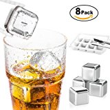Stainless Steel Whiskey Stones, X-Chef Reusable Chilling Stones Ice Cubes with Ice Tong & Storage Tray for Whiskey Wines Vodka Beer Beverages, Pack of 8