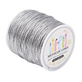 Pandahall 109 Yards 1mm Non Stretch Jewelry Braided Thread Gift Wrap Ribbon Metallic Tinsel Cord Rope Silver