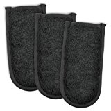 """DII Cotton Terry Pan Handle Sleeve, 6x3"""" Set of 3, Heat Resistant and Machine Washable Handle Cover for Kitchen Cooking and Baking-Black"""