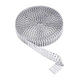 eBoot 4 Row 10 Yard Acrylic Rhinestone Diamond Ribbon for Wedding Cakes, Birthday Decorations, Baby Shower Events and Arts and Crafts Projects (Silver)