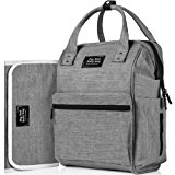 Backpack Diaper Bag with 3 Insulated Pockets and Multiple Large Compartments. Includes a Baby Changing Pad and Stroller Straps. Great for both Mom and Dad. Durable and Waterproof in Trendy Grey