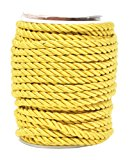 Mandala Crafts 5mm 3/16 Inch Rayon Home Décor Piping Braided Trim Rope Twisted Cord (5mm, Gold)