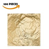 Bullet Face 100 Sheets 5.5 by 5.5 Inches Imitation Gold Leaf Foil Paper for Arts, Gilding Crafting, Decoration DIY