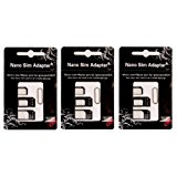 SIM CARD ADAPTER KIT 3-Pack (9 Total Adapters: Nano to Micro, Nano to Regular, Micro to Regular) with SIM Extractor (Black)