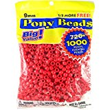 Darice 06121-2-01 Pony Beads, 9mm, Opaque Red,1000 Count