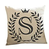 Usstore 1PC Decorative Pillowcases Letters Pattern Print Waist Throw Pillow Cover Cafe Home Decoration for Living Sofas Beds Room (S)