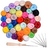 Needle Felting Wool, 40 Colors, Fibre Wool Yarn Roving for Needle Felting Hand Spinning DIY Craft Projects with Felting Needles Kit and Handle by Queenti