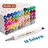 Shuttle Art 50 Colors Dual Tip Art Markers,Permanent Marker Pens Highlighters with Case Perfect for Illustration Adult Coloring Sketching and Card Making