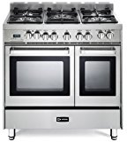 """Verona VEFSGE365NDSS 36"""" Pro-Style Dual-Fuel Range with 5 Sealed Burners, 2 European Convection Ovens, Multi Function Programmable Ovens and Storage Drawer: Stainless Steel"""