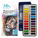 Watercolor Paint Set - 24 vibrant colors - Lightweight and portable - Perfect for budding hobbyists and artists - Paintbrush included - MozArt Supplies