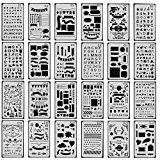 24 pcs Bullet Journal Stencil , Taotree DIY Drawing Template Stencil Set for Planner/ Leuchtturm & Moleskine A5 Notebooks/Scrapbook Craft Project --Best used with Fine Point Pens