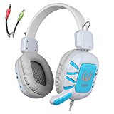Gaming Headset AFUNTA 3.5mm Stero Over Ear Wired GT G1 Gaming Headphone with Microphone Volume Control Noise Reduction for PC Laptop Apple iphone 6 6s plus Samsung Smartphones Tablet-Blue/White