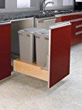 Rev-A-Shelf 4WCBM-2150DM-2 Double 50 quart Waste Container - Wood - Maple-Natural