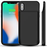 iPhone X Battery Case, ALLEASA 6000mAh Rechargeable Extended Charger Case Protective Battery Pack Charging Case [Lightning Charging Port] for iPhone X / iPhone 10(5.8 inch)–Black