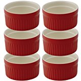 Mrs. Anderson's Baking Souffle, Ceramic Earthenware, Rose, Set of 6, 3.75-Inch, 6-Ounce Capacity