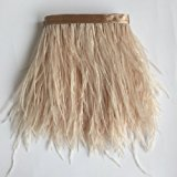 Sowder Ostrich Feathers Trims Fringe With Satin Ribbon Tape for Dress Sewing Crafts Costumes Decoration Pack of 2 yards(champagne)