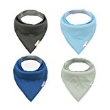 Alva Baby Bandana Bibs for Boys and Girls 4 Pack of Super Absorbent Baby Gift Sets KSD03