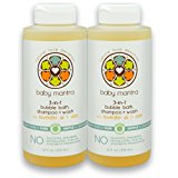 Baby Mantra 3-in-1 Natural Bubble Bath, Shampoo and Body Wash - Hypoallergenic Bath Bubbles for Infants, Toddlers, and Kids with Sensitive Skin, 12 Fluid Ounces (Pack of 2)