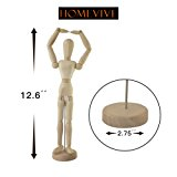 Wooden Figure Model,Human Art Mannequin/Manikins for Drawing,12'' Tall.Made of Seasoned Hardwood,Female,with Base and Flexible Body,a Great Tool for Artists,also Makes an Interesting Desk Decoration