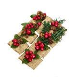 Set of 16- Christmas Napkin Ring-Burlap Christmas Picks
