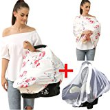 Baby Car Seat Cover Canopy Nursing And Breastfeeding Cover(print flower-02)