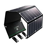 Solar Charger RAVPower 24W Solar Panel with Triple USB Ports Waterproof Foldable for Smartphones Tablets and Camping Travel