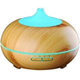 VicTsing 300ml Aroma Essential Oil Diffuser, Wood Grain Ultrasonic Cool Mist Humidifier for Office Home Bedroom Living Room Study Yoga Spa