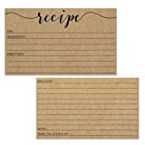 Recipe Cards - Size 3x5 - Small Kraft Brown Lined Kitchen Note Card for Recipe Box - Set of 50