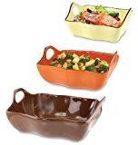 KOVOT Set Of 3 Ceramic Casserole Dishes/Bakeware - Brown, Orange, Yellow