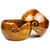 Premium Rosewood Crafted Wooden Portable Yarn Bowl | Knitting Bowls | Crochet Holder | Nagina International (6 x 6 x 3 Inches)