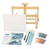 """L.Louise Art Acrylic Paint Set with Easel, 5 Brushes, Palette Knife, 11"""" X 14"""" Stretched Canvas, Tear-off Palette Pad, 12 - 20ml Tubes of Acrylic Paint. Includes Free Painting Lesson Video!"""