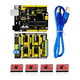 keyestudio UNO R3 CNC Kit for Arduino CNC Shield V3.0 + UNO R3 ATmega328P with Usb Cable +4pcs A4988 Stepper Motor Driver GRBL Compatible