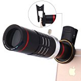 Universal 18X Zoom HD Clip On Mobile Phone Optical Camera Lens Kits,WMTGUBU Telescope Telephoto lens+15X Super Macro Lens+0.6X Wide Angle Lens for iPhone Samsung most Android Smartphones(Black)