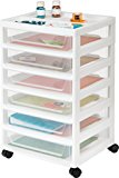 IRIS 6-Drawer Scrapbook Cart with Organizer Top, White