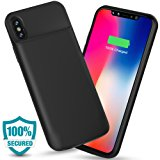 ALCLAP iPhone X Battery Case, 3600mAh Slim Portable Charger Case Protective Charging Case for iPhone X/10(5.8 inch)Extended Battery Pack Juice Bank Cover/Lightning Cable Input Mode-Black
