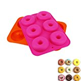 CDOFFICE Set of 2PCS 6-Cavity Silicone Donut Baking Pan Non-Stick Donut Maker Pans(Orange+Rose)