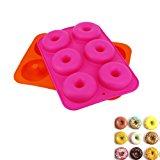 CDOFFICE Set of 2PCS 6-Cavity Silicone Donut Baking Pan Non-Stick Donut Maker Pans(Orange+Rose)