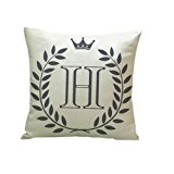 Usstore 1PC Decorative Pillowcases Letters Pattern Print Waist Throw Pillow Cover Cafe Home Decoration for Living Sofas Beds Room (H)