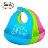 Bonim Baby Bibs Waterproof Silicone Bib - Comfortable and Adjustable Soft Feeding Bibs for Infants & Toddlers (6-72Months) Easy to Clean, Dry, Portable and Keep Stains Off! Set of 3 Colors